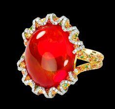 Martin Katz Fire Opal Ring micro set with tsavorites, yellow sapphires, orange sapphires and diamonds
