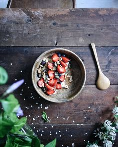 Strawberries, blueberries and hazelnuts for breakfast