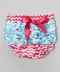 Take a look at this Aqua & Hot Pink Ruffle Diaper Cover - Infant & Toddler by Zuzu Petals on #zulily today!