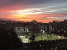 Sunset from a hotel room in Beijing. Also had the best view on whats happening on the pitch💥