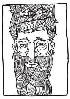 Beard Art Print by Lawerta #grafica #illustrazione