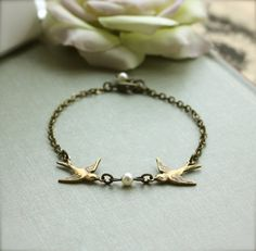 Two Love Birds Bracelet. Two Brass Swallow Birds Pearl Bracelet. For Wife. Friendship. Sister. Best Friends. Bridesmaids Gift. Flower Girl.