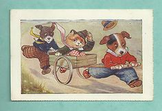 C1910'S CARD A. E. KENNEDY - DOGS PULLING CAT IN A CART DOWN A HILL | eBay