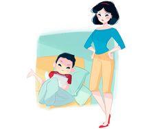"""Branca de Neve Vida de mãe: A Branca tem um filho adolescente que fica sentado no sofá o dia todo. Isso a deixa furiosa e faz com que ela reclame: """"Você não tem ideia de como sua vida é fácil. Quando eu tinha a sua idade eu tinha que fazer trabalho servil para sete anões!"""
