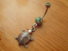 Belly button ring Silver turtle and green gem by ChelseaJewels on Wanelo