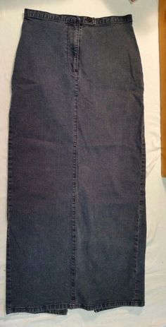 Faconnable Maxi Jeans Skirt Womens size 4 Long Denim Pencil Slit Button Stretch #Faonnable #Maxi