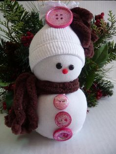 Snow Baby Sock Snowman by DragonflyKrafts on Etsy