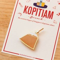 Latest addition to our Kopitiam Brooch series - Teh Da Bao! This is how we, Singaporeans, have our tea to go traditionally! Packaged in a clear plastic bag, tied up in a plastic coloured band.