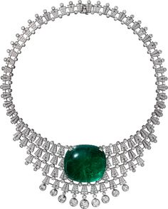 CARTIER. Necklace - white gold, one 140.21-carat cushion-shaped cabochon-cut emerald from Colombia, seven E/F IF/VVS1/VVS2 brilliant-cut diamonds totalling 4.58 carats, brilliant-cut diamonds. The creation can be worn as a tiara or a necklace.