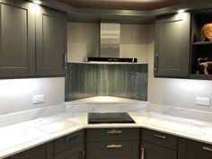 3 part, bespoke textured grey splash back. Glass Installation, Interior Accessories, Glass, Interior, Kitchen, Glass Kitchen, Splash, Home Decor, Kitchen Cabinets