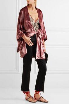 Attico - Vanessa Embellished Satin And Velvet Sandals - Pink - IT