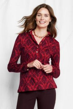 Women's Long Sleeve Print Supima Modal Ruffle Polo from Lands' End