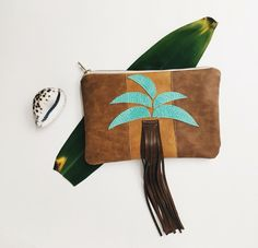 Viva Vida - Palm Tree Leaves Fringe Clutch. Faux leather. Tropical Palms Pouch. Zipper clutch. Tan, Free Us shipping.