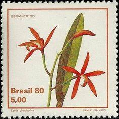 Selos: Cattleya cinnabarina (syn.Laelia cinnabarina) (Brasil) (orquídeas) Mi:BR 1786,Sn:BR 1712,Yt:BR 1440,Sg:BR 1863,RHM:BR C-1163