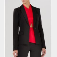 BCBG Max Azria Blk Classic Pinstripe Blazer; Sz M BCBG Max Azria Black Classic Pinstripe Blazer; 2-button style, sleek lines. Wear with skinny black tuxedos or skinny jeans & stilettos. Sexy & timeless. Only worn a few times. Please comment for additional pics or with any questions. BCBGMaxAzria Jackets & Coats Blazers