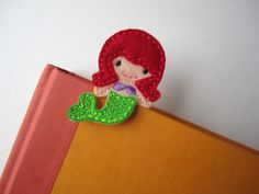 Kids Little Mermaid Bookmark, Red Head Mermaid Paper Clip Style Place Holder, bmmermaid50