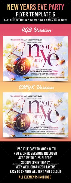 New Years Eve Party Flyer Template PSD Nye Xmas