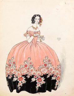 """George Barbier (French, 1882 - 1932) - """"La tasse de thé: Séraphine en rose et noir"""" (The cup of tea: Séraphine in pink and black dress), 1925"""