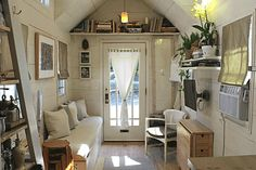 """This modern farmhouse tiny home, the """"Tiny Hall House"""" is a tiny house on wheels, built by its owners, based in Massachusetts! This tiny house is Tiny House Movement, Tiny House Plans, Tiny House On Wheels, Tiny House Living, Small Living, Living Room, Hall House, House 2, Tiny Spaces"""