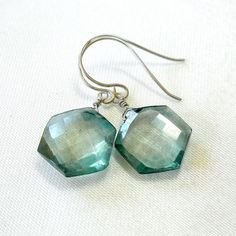 Blue Briolette Earrings Blue Drop Earring Gemstone by nikkimcl, $36.00