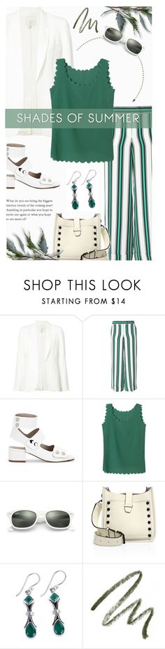 """""""Green shades of Summer"""" by xiandrina ❤ liked on Polyvore featuring Joie, Salvatore Ferragamo, Ray-Ban, Rebecca Minkoff, NOVICA and Laura Mercier"""