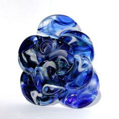 Glass Rose Long Stemmed Flower, Forever Untamed Rose Hand Blown Lampwork, Blue Extra Large Rose