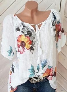 Buy Blouses, Online Shop, Women's Fashion Blouses for Sale - FlorydayPlus Size Geometric Vintage Round Neckline Sleeves Blouses - FlorydayShop Floryday for affordable Tops. Floryday offers latest ladies' Tops collections to fit every occasion. Floral Blouse, Printed Blouse, Floral Sleeve, Floral Tops, Short Sleeve Blouse, Long Sleeve Tops, Short Sleeves, Dressy Tops, Work Blouse