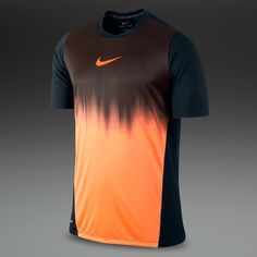 Nike Mens Clothing - Graphic Short Sleeve Faded Top - Football - Training - Black/Orange