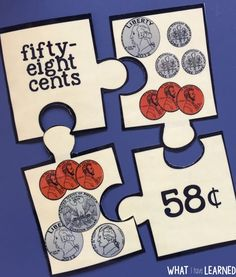 Money, Money, Money Puzzles!  Number form, word form, and pictures of coins