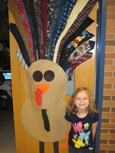 November bulletin board idea.  Have kids bring in ties.  Do all kinds of math activities with ties then surprise kids with a terrific turkey.