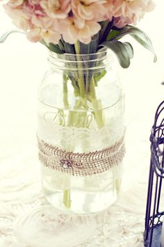 How To Use Mason Jar On Your Wedding Day #masonjar decorate it with ribbons and lace cloth #wedding #ideas perfect table centerpiece and flower vase!