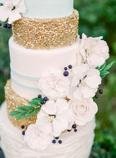 navy where the sky blue is and teal where the gold is and coral flowers      Gorgeous cakes! {Wedding Cake Designer | Jenna Rae Cakes}