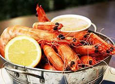 Bucket of prawns ... Always on the menu at our Australian beach house!