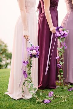 Plum, Lavender, Amethyst, Oh My! Oodles of Purple Wedding Ideas Draping purple bridesmaid bouquets with orchids and roses for tropical weddings Dark Purple Bridesmaid Dresses, Purple Wedding Bouquets, Purple Wedding Cakes, Plum Wedding, Vintage Wedding Theme, Wedding Bridesmaid Dresses, Wedding Ideas, Wedding Inspiration, Cascading Bouquets