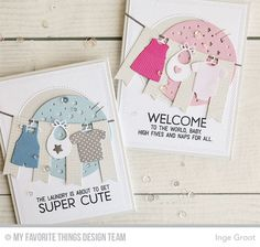 Welcome, Baby Stamp Set, Mesh Background, Bundle of Baby Clothes Die-namics, Starry Circle Die-namics, Inside & Out Diagonal Stitched Rectangle STAX Die-namics - inge Groot  #mftstamps