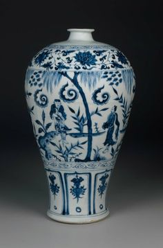 Meiping-shaped Vase Decorated with Daoist Immortals. Chinese, Yuan Dynasty, mid-14th century. Jingdezhen-ware.