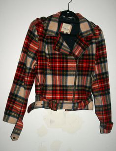 Red and White Tartan Plaid Motorcycle , $25.00