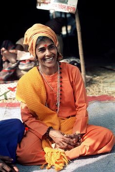 Beautiful smile!  (Indian lady priest )