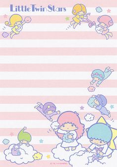 Little Twin Stars memo pad as courtesy of Sanrio Little Twin Stars, Little Star, Sailor Moon Background, Star Illustration, Printable Scrapbook Paper, Cute Notes, Cute Stationary, Hello Kitty Wallpaper, Cute Cartoon Wallpapers