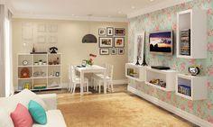 Conjunto para Sala de Estar e Sala de Jantar com Mesa e 4 Cadeiras, Estante com Nichos e Cubos Branco - Caaza