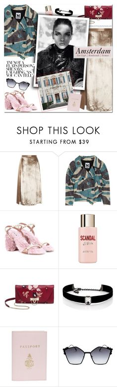 """""""How to Style a Metallic Silk Skirt with a Camo Jacket, Pink Embellished Heels and a Dark Floral Bag for Travel to Amsterdam this Fall"""" by outfitsfortravel ❤ liked on Polyvore featuring Michelle Mason, Missoni, Miu Miu, Jean-Paul Gaultier, Valentino, Kenneth Jay Lane, Mark Cross, Fendi and vintage"""