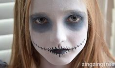 Totally transform your kids Halloween costume from cute to spooky with this simple three colour Ghoul Halloween face paint. Maquillage Halloween Zombie, Halloween Zombie Makeup, Zombie Face, Halloween Costumes For Kids, Kids Skeleton Face Paint, Ghost Face Paint, Easy Halloween Face Painting, White Face Paint, Ghost Makeup