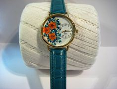 Turquoise Blue Wrist Watch, Womens Watch, Wrist Watch for Women, Bridal Wreath and Queen Anne Lace in a Watch, Orange Bridal Wreath Watch by PurplePetalStudio on Etsy