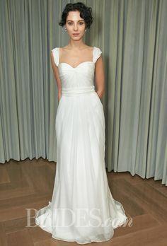 Amy Kuschel - Fall 2014 - Tara Silk Satin and Chiffon Draped Sheath Wedding Dress with Cap Sleeves