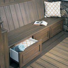 Top 60 Best Deck Bench Ideas Built-In Outdoor Seating Designs Storage Bench Seating, Deck Bench Seating, Garden Storage Bench, Backyard Seating, Built In Seating, Built In Bench, Bench With Storage, Outdoor Seating, Outdoor Spaces