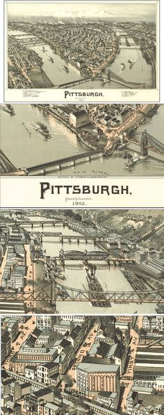 Home Decor - Office Decor - Gift Ideas - Look at these close ups of the intricate details in this Antique Wall Map of Pittsburgh from 1902! Vintage maps look amazing in any home or office, and make great gifts too! Find this map and more here http://www.mapsales.com/antique-wall-maps.aspx?flag=leftnav&utm_source=pinterest&utm_medium=pin&utm_campaign=caption