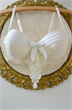 36C White & Cream Bra Set Wedding Burlesque by TheMagpiesRiver