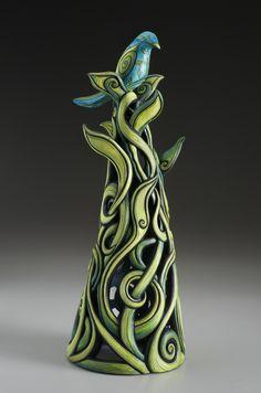terri-kern – sculpture – Perch – Art – Art is my life. Slab Pottery, Ceramic Pottery, Pottery Art, Thrown Pottery, Pottery Wheel, Ceramic Mugs, Ceramic Bowls, Pottery Animals, Ceramic Animals