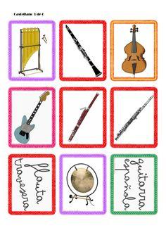Tarjetas de instrumentos musicales Sign Language, Music Notes, Free Printables, Washer Necklace, Coding, Holiday Decor, Ideas Para, Piano, Party Ideas