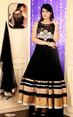 USD 165.5 Black Lace Work Ankle Length Anarkali Suit 37940